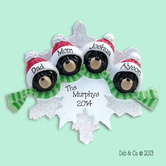 Black Bear Family of 4 on Snowflake Hand by PersonalizedOrnament