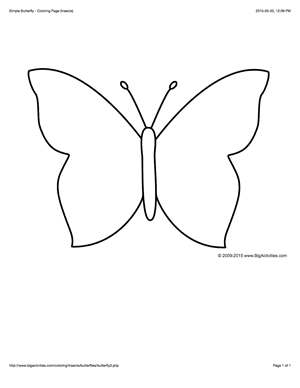 Coloring Page With A Simple Outline Of A Butterfly To Color