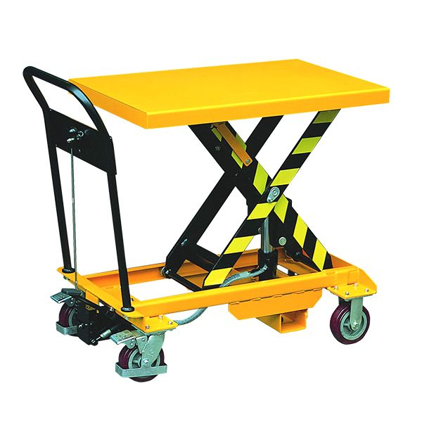 Our SC-300-S-M-JCB 300kg economy single mobile scissor lift table is an easily manoeuvrable platform on wheels for loads up to 300kg. Free UK delivery.