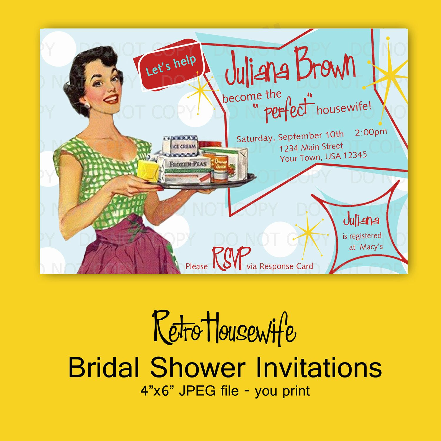 printable diy retro housewife theme bridal shower party invitations rsvp card and recipe bundle