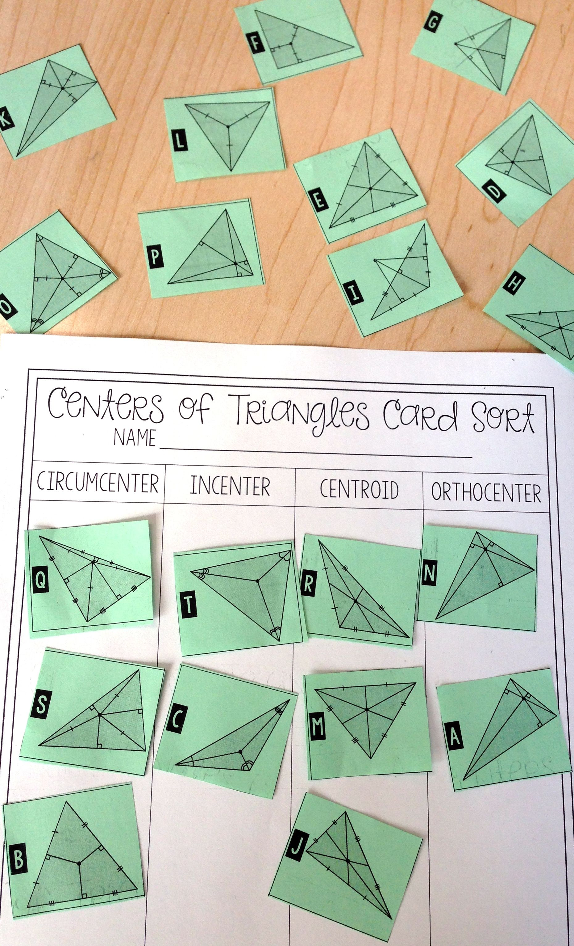 Centers of Triangles Card Sort – Medians of a Triangle Worksheet