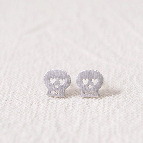 Silver Plate Heart Skull Stud Earrings Clutchandclasp Https Co