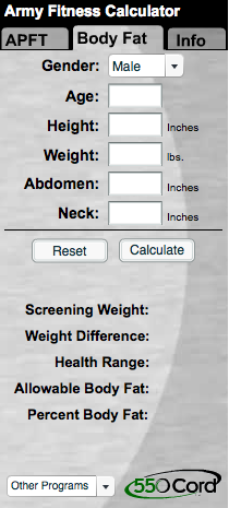 This APFT Calculator is provided by 550cord com and will