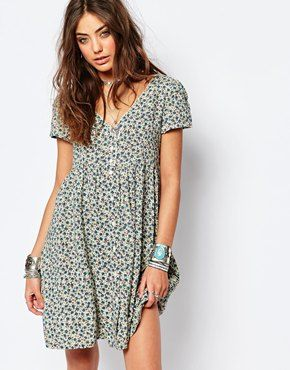 e138922563 Denim   Supply By Ralph Lauren Babydoll Button Front Dress With Floral Print