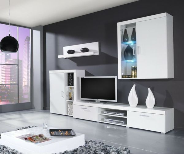 wohnzimmer wohnwand weiß accessoires dunkle wand Sala - wohnzimmer wohnwand weiß