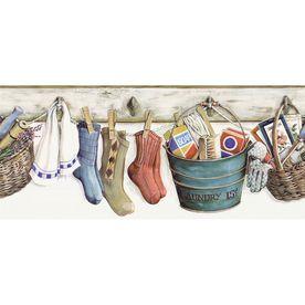 Allen Roth 9 Multicolor Laundry Prepasted Wallpaper Border