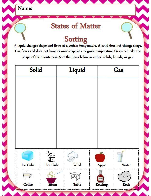 First Grade Emergency Sub Plan Activity Set NO Prep – Solid Liquid Gas Worksheet for Kindergarten