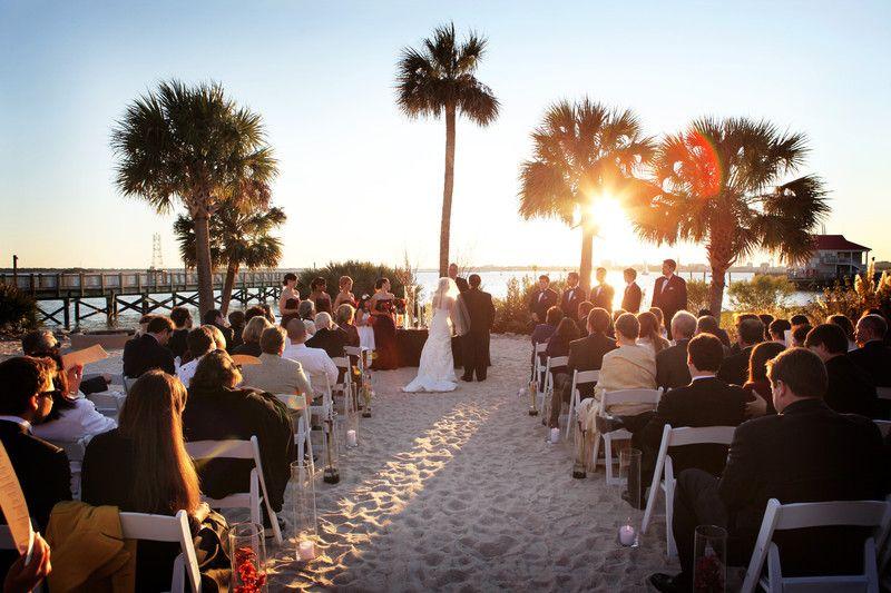 A beach wedding at charleston harbor resort and