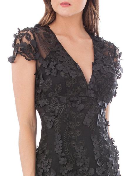 10cbfc33b2a2b3 V Neck Fleurette Gown Carmen Marc Valvo #Motherofthebride  #Motherofthebridedress #weddingdress #bridesmaiddress