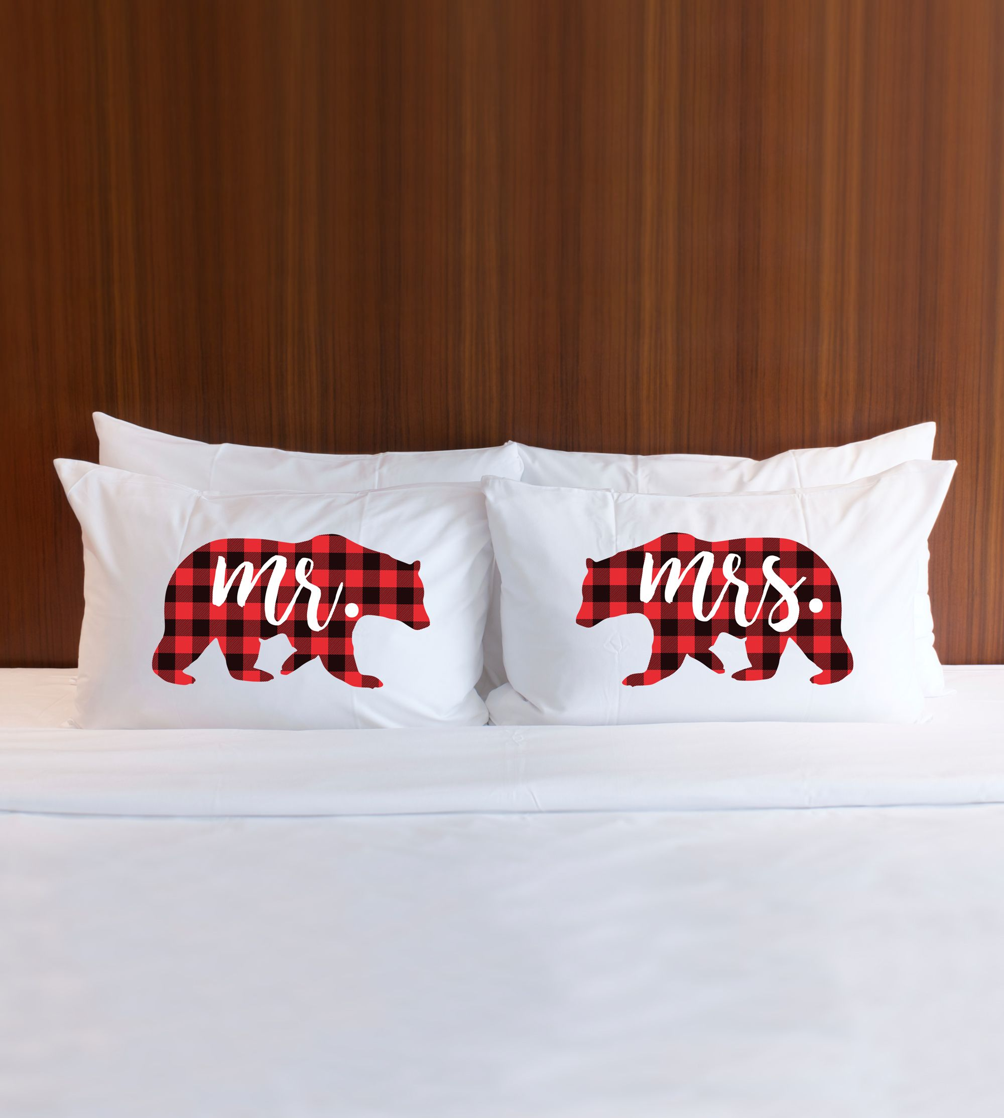 Gift for Couples Pillowcase Set Mr & Mrs Bear Plaid Pattern Holiday ...