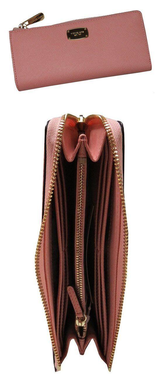 021cc9654b79 $98.95 - Michael Kors Jet Set Travel Large Three Quarter Zip Around Leather  Wallet Pale Pink