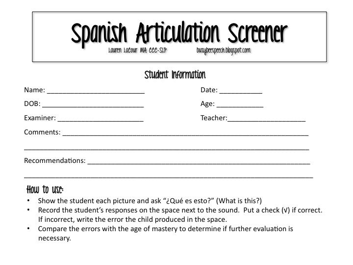 Spanish Articulation Screener Spanish, Speech therapy and Therapy - likert scale template