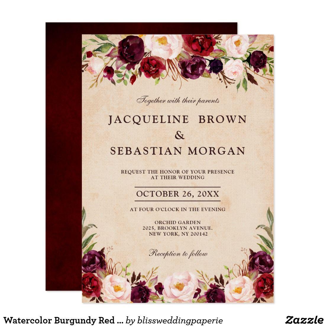 Watercolor Burgundy Red Floral Rustic Boho Burlap Invitation