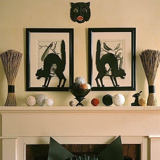 deko f r kamin halloween bilder schwarze katze bilderrahmen kamin pinterest halloween. Black Bedroom Furniture Sets. Home Design Ideas