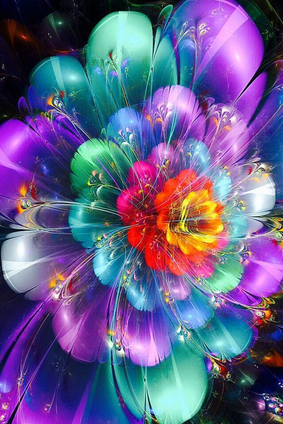 A Flower Of Feathers With Images Neon Flowers Colorful Art