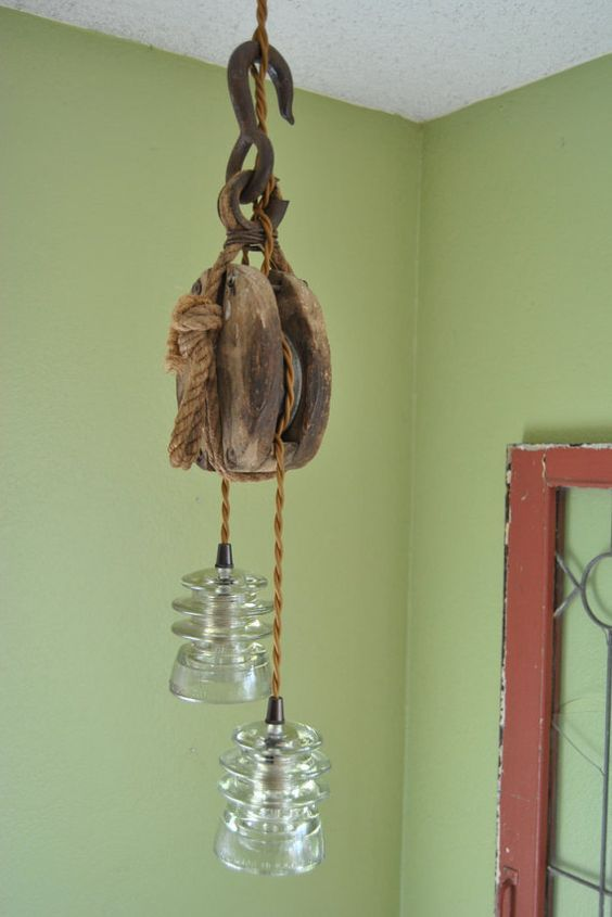 Wooden Pulley Glass Insulator Hanging Light By
