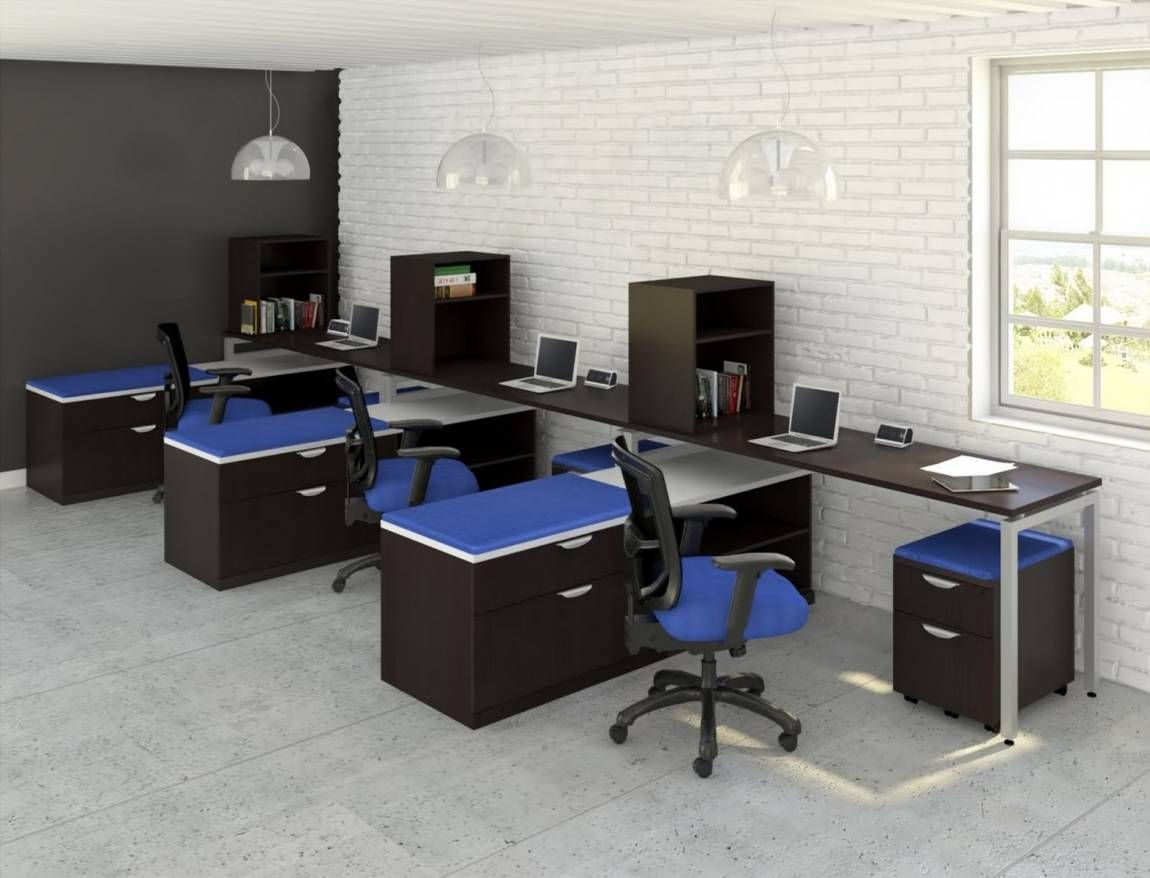 3 Person Workstation Desk With Side Storage Cheap Office