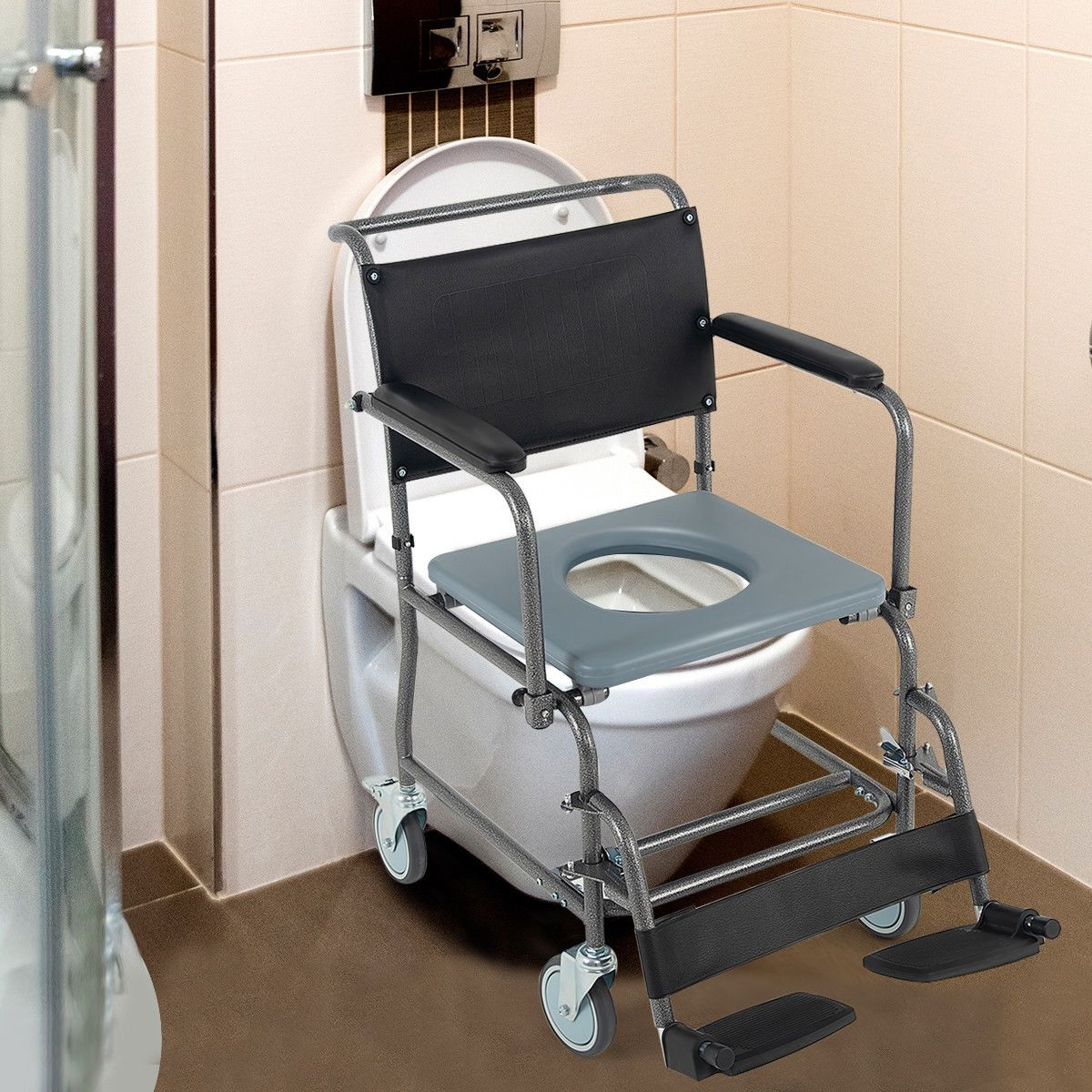 Medical Transport Toilet Commode Wheelchair With Locking Casters Toilet Commode Locking Casters Wheelchair