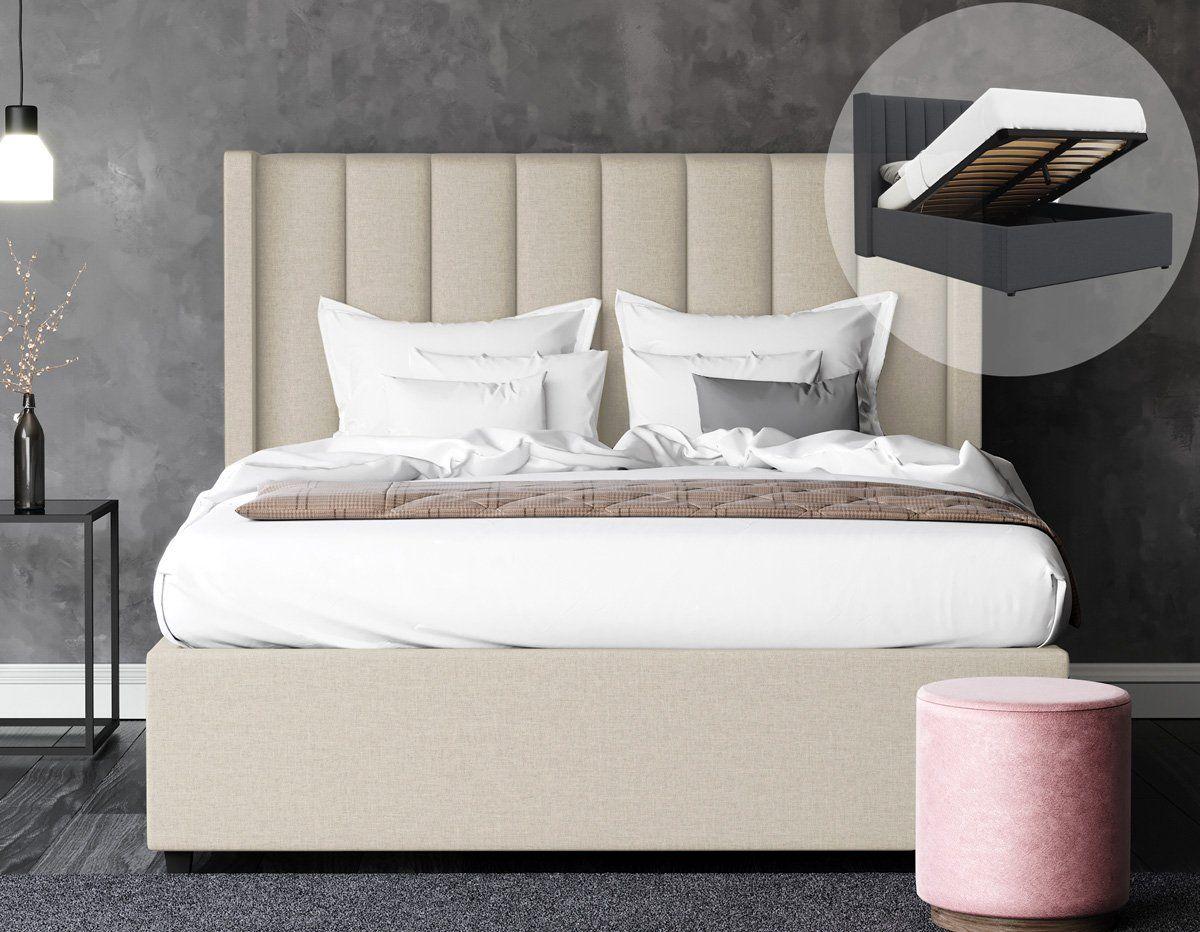 Emilie Gas Lift Storage Wing Bed Frame Tuscan Beige Fabric Em 2020