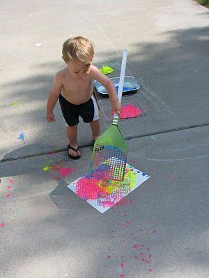 Use a flyswatter and homemade sidewalk paint...flyswatter painting!!