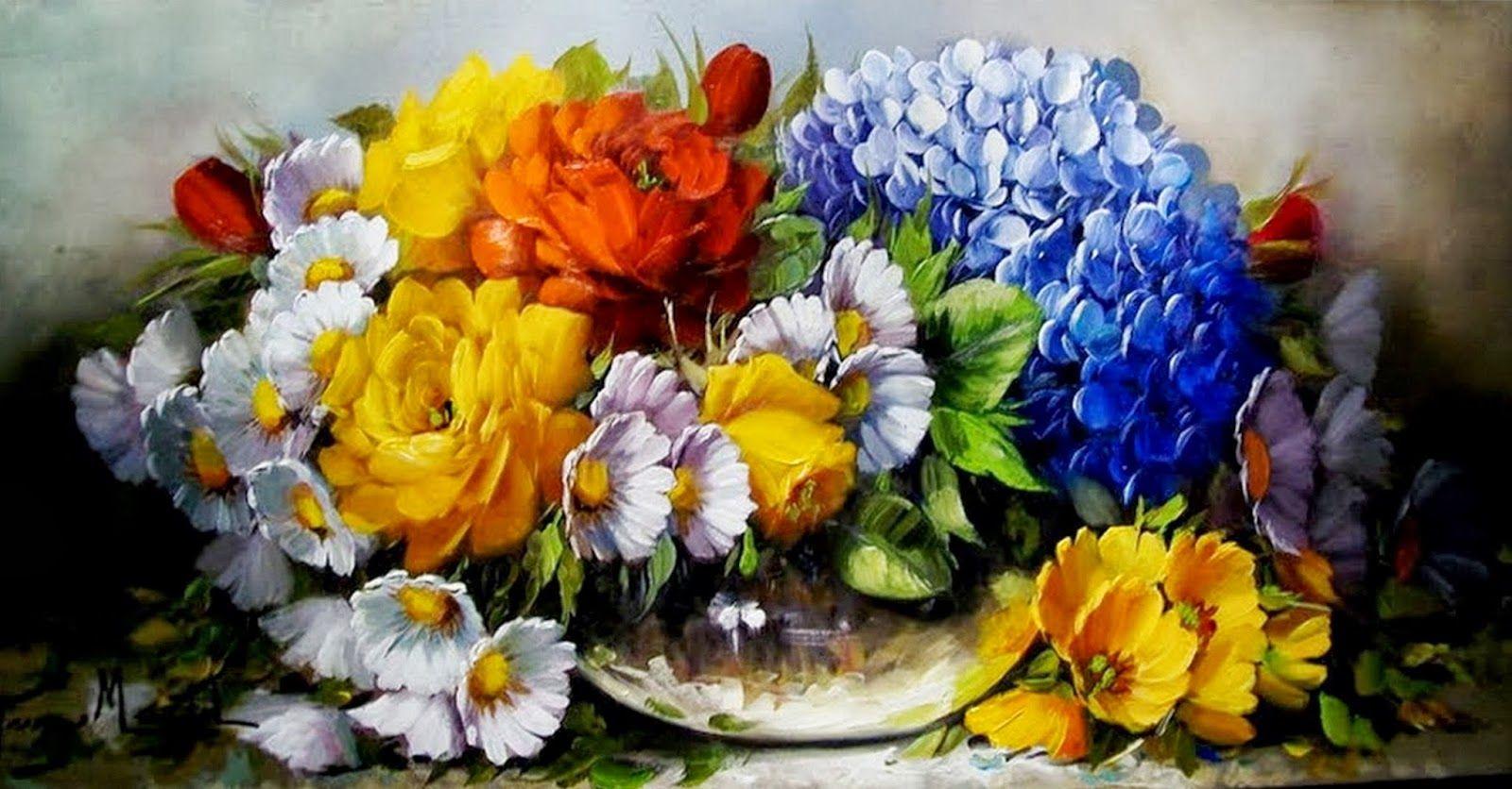 Cuadros modernos pinturas flores pintadas al leo - Fotos de cuadros modernos ...