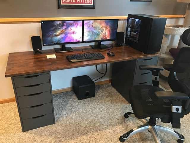 New Ikea Desk Diy Computer Desk Computer Desk Setup Home Office Setup