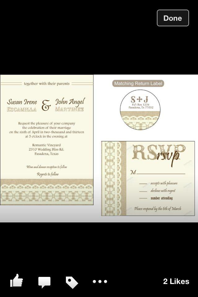 Burlap / Lace Wedding Invitation Set  www.facebook.com/graphicsbycynthia