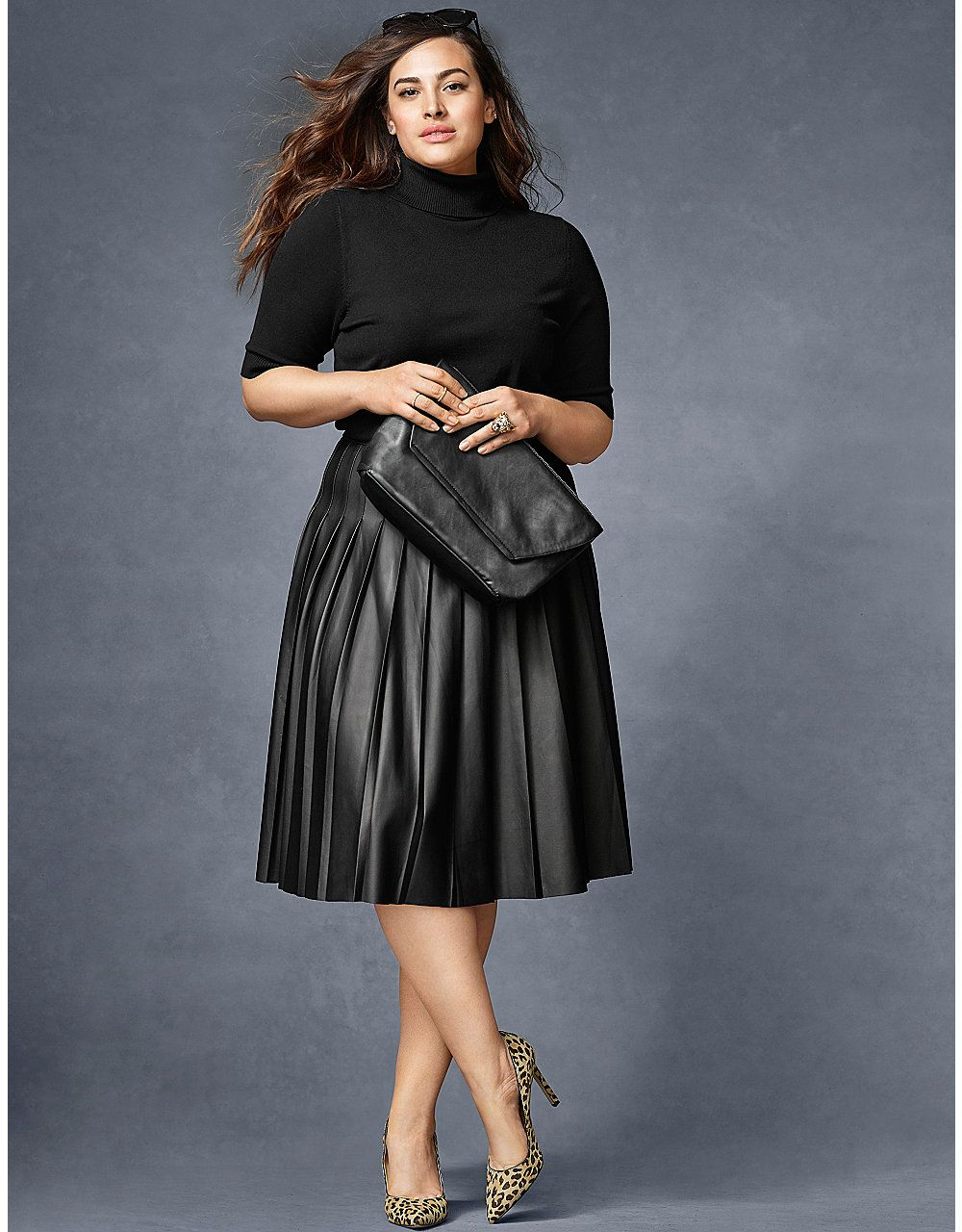 Black faux leather pleated skirt plus size – Modern skirts blog ...