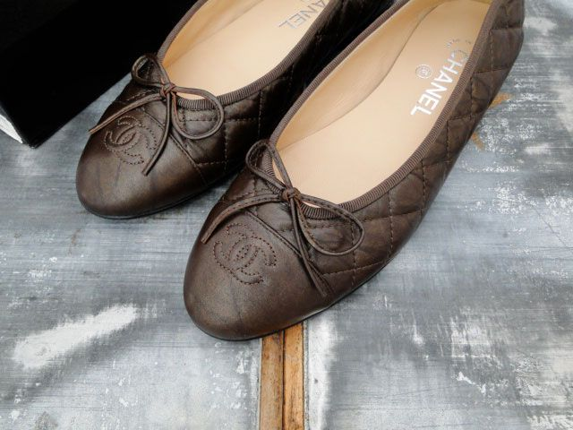Chanel Bronze Quilted Leather Ballet Flats 8.5 $295