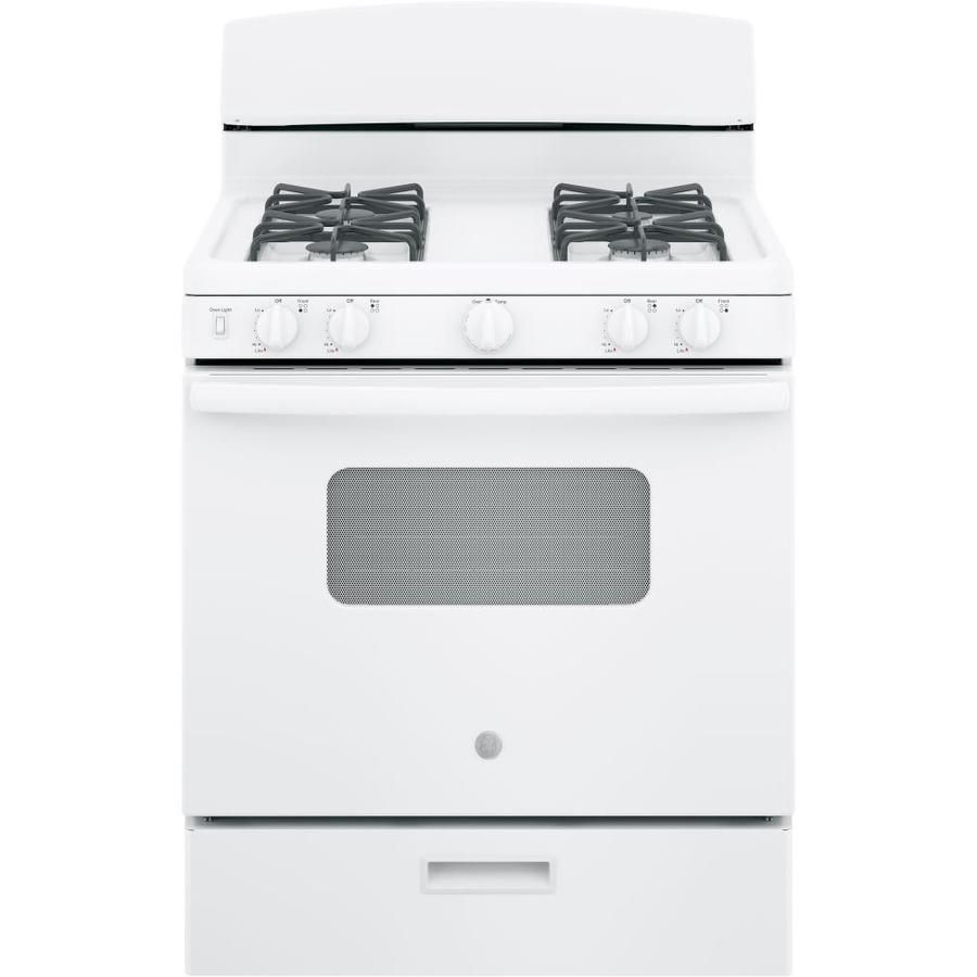 Ge Freestanding 4 8 Manual Cleaning Gas Range White Actual 30 In York Side 1 Kitchen Cleaning Oven Racks Self Cleaning Ovens Oven Cleaning