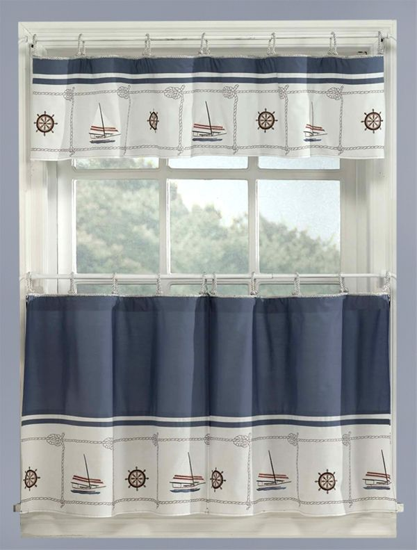 Blue Nautical Curtains Valance Tiers Set Cape Cod Coastal Decor Modern Kitchen Curtains White Kitchen Curtains Kitchen Curtains And Valances