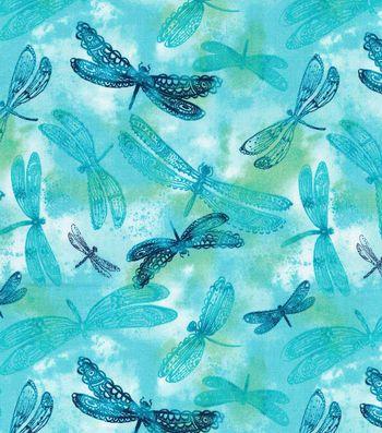 Keepsake Calico™ Cotton Fabric-Misty Dragonfly On Turquoise