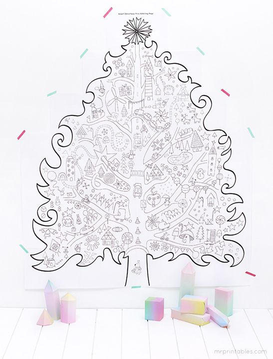 Giant Xmas Tree And Other Printable Christmas Coloring Pages