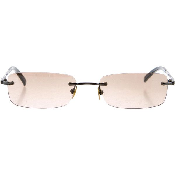 ebbbfacb6ee7 Pre-owned Burberry Rimless Rectangular Sunglasses ($95) ❤ liked on Polyvore  featuring accessories, eyewear, sunglasses, silver, rimless glasses, ...