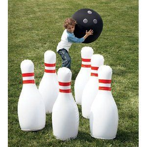Amazon Com Hearthsong Giant Bowling Game Inflatable Classic Red White And Black 29 H Toys Games Giant Yard Games Outdoor Yard Games Bowling Games
