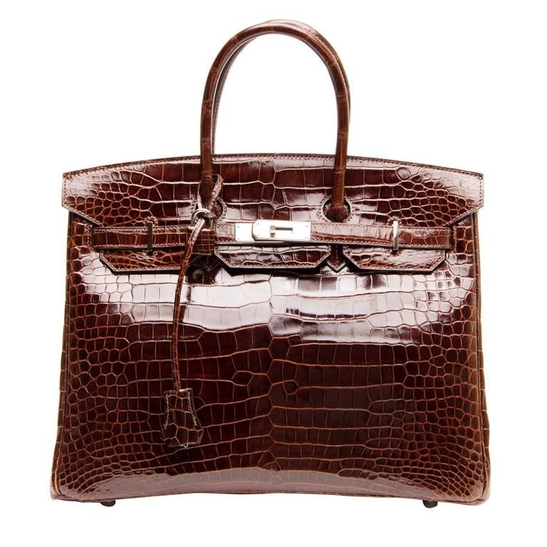 Hermès Birkin Chocolate Brown Porosus Crocodile Bag 35cm W Palladium Hardware From A Collection Of Rare Vintage Top Handle Bags At