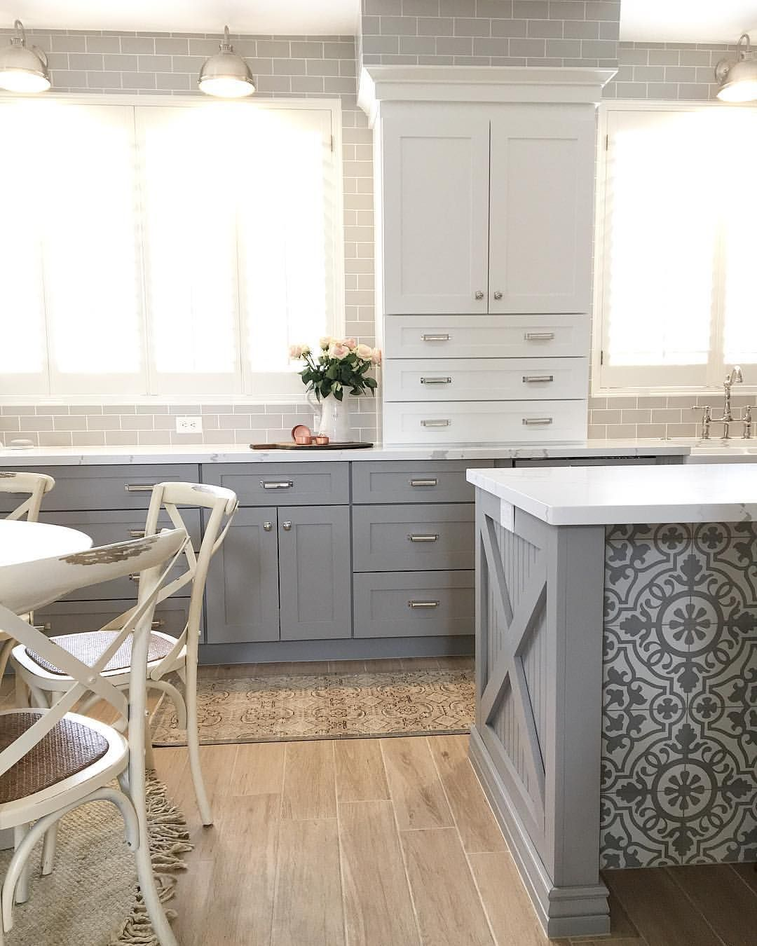 Good Morning Little Peek A Boo At Our Tiled Island This Damsel Cement Tile From Bedrosi Kitchen Design Kitchen Island Back Panels Kitchen Inspirations