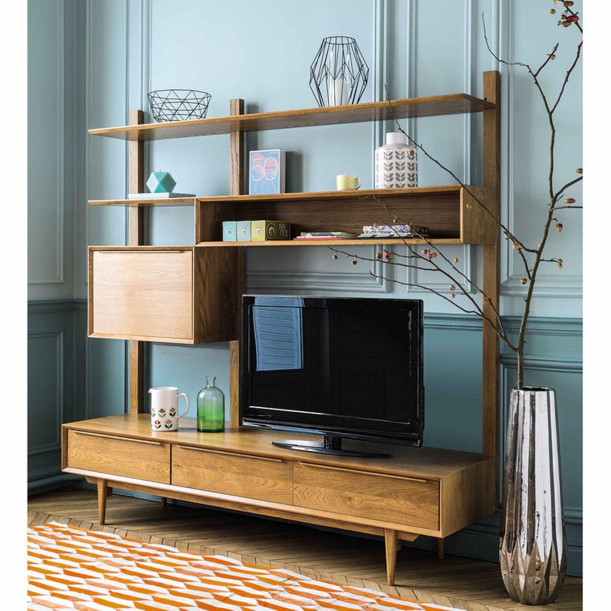 Meuble Tv Etagere Vintage En Chene Massif En 2020 Mobilier De