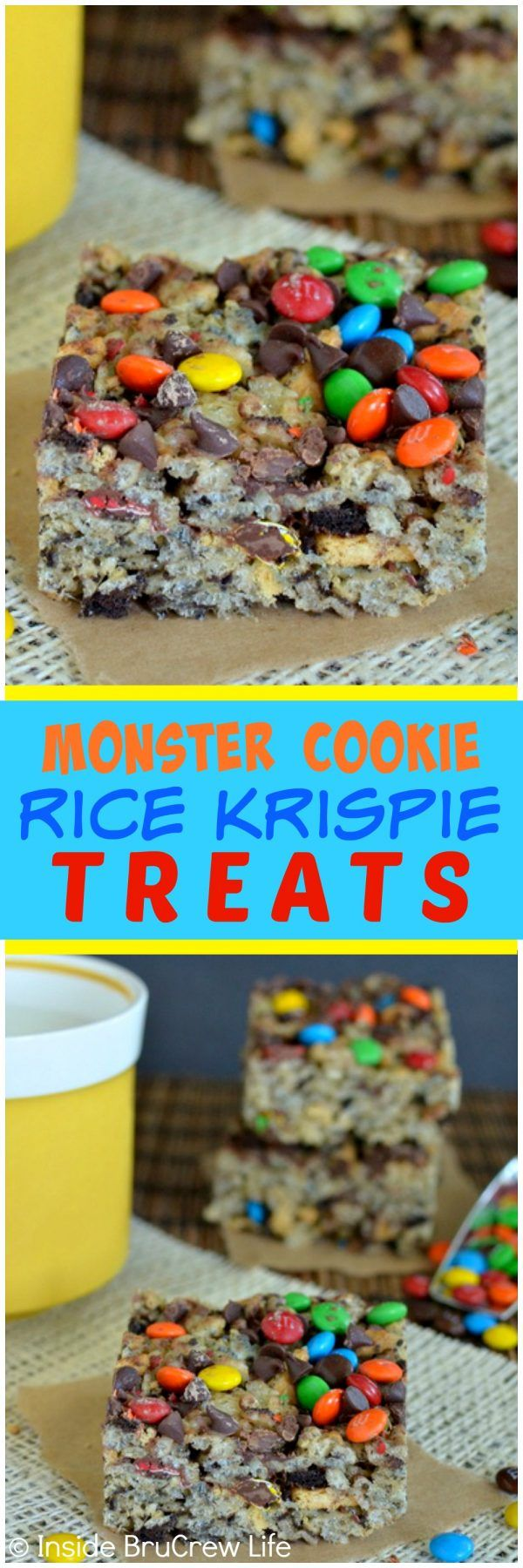 Monster Cookie Rice Krispie Treats - these easy no bake bars are loaded with two kinds of cookies and candy! Great dessert recipe to share with friends! #ricekrispiestreats
