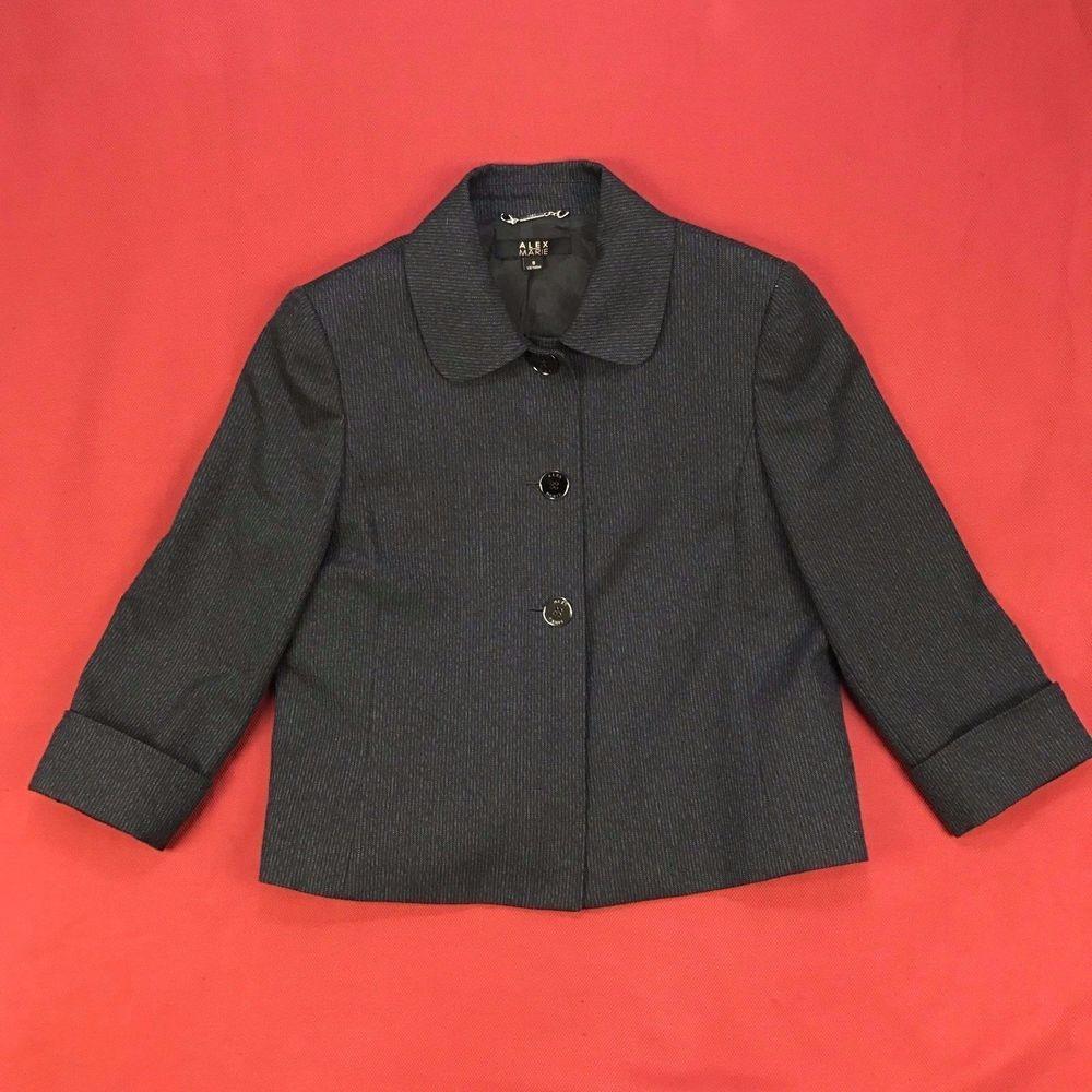 Alex Marie Womens Sz 8 Blazer Black Textured Button Down Polyester Suit Jacket  #AlexMarie #Blazer