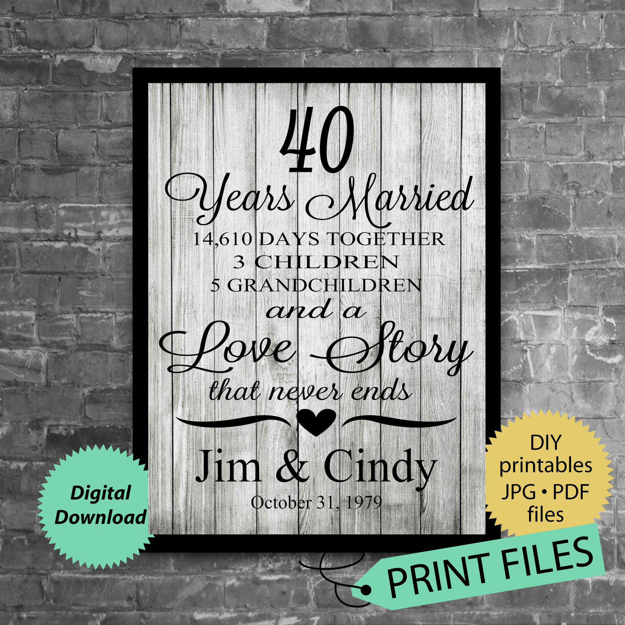40th anniversary gift anniversary gift for husband and