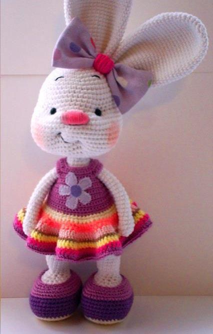 Pretty Bunny amigurumi in pink dress | Muñeca amigurumi, Patrones ... | 667x426