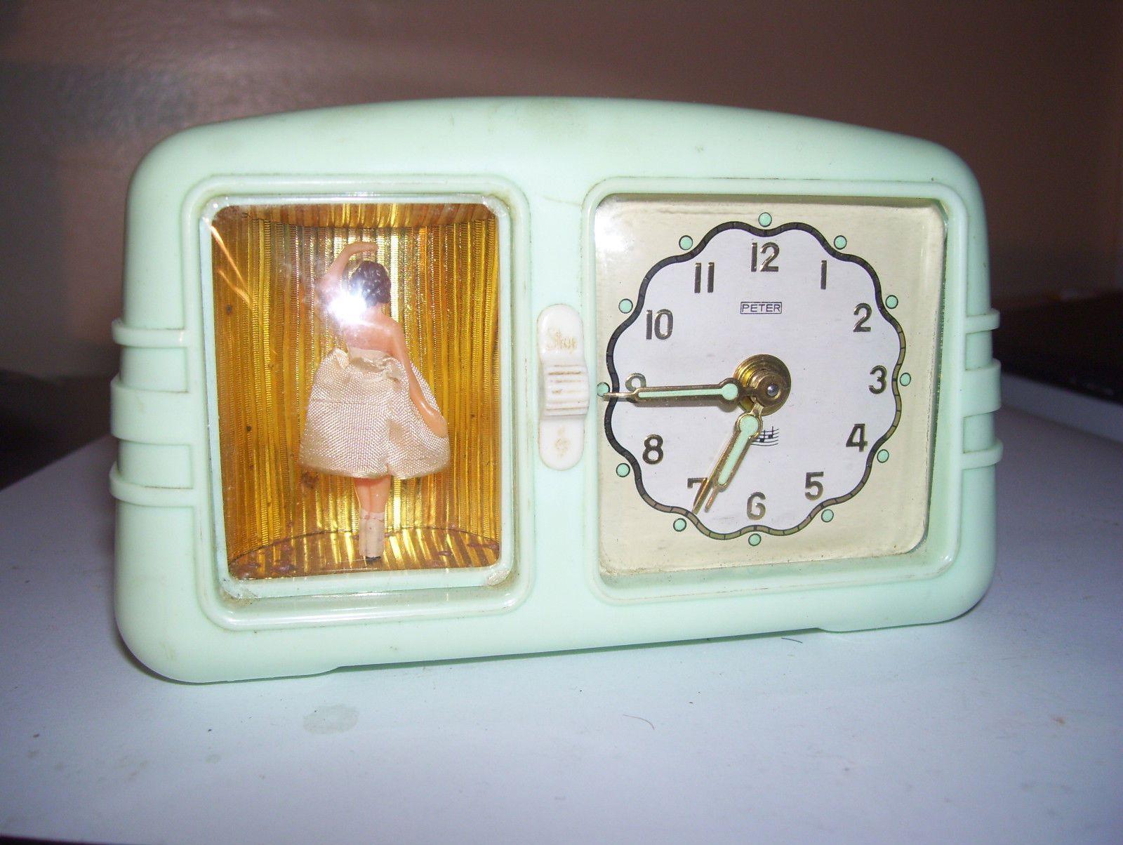 Vintage Peter Musical Alarm Clock With Music Box Ballerina Ebay
