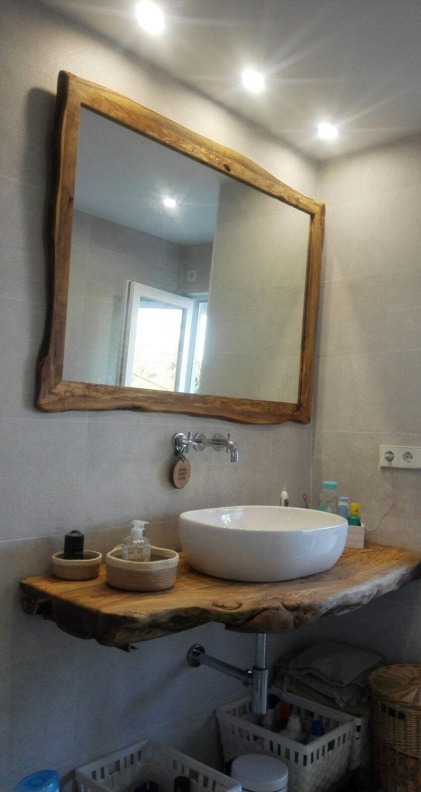encimera de baño de madera de olivo | Muebles para baños ...