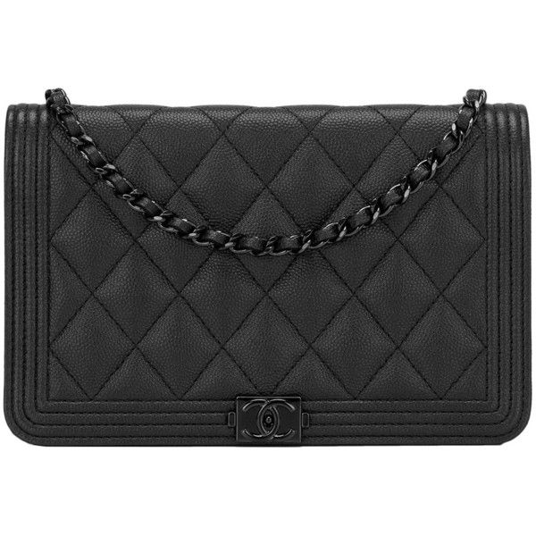 Chanel So Black Quilted Caviar Boy Wallet On Chain Woc 62 935 Mxn Liked Polyvore Featuring Bags Wallets