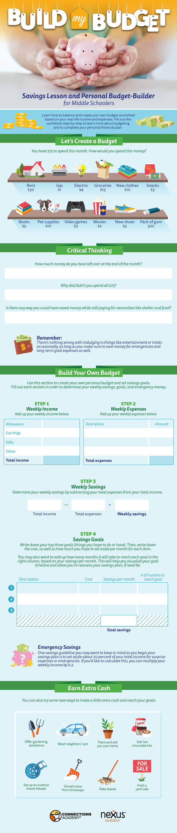 Financial Literacy Skills For Kids Build My Budget Savings Lesson