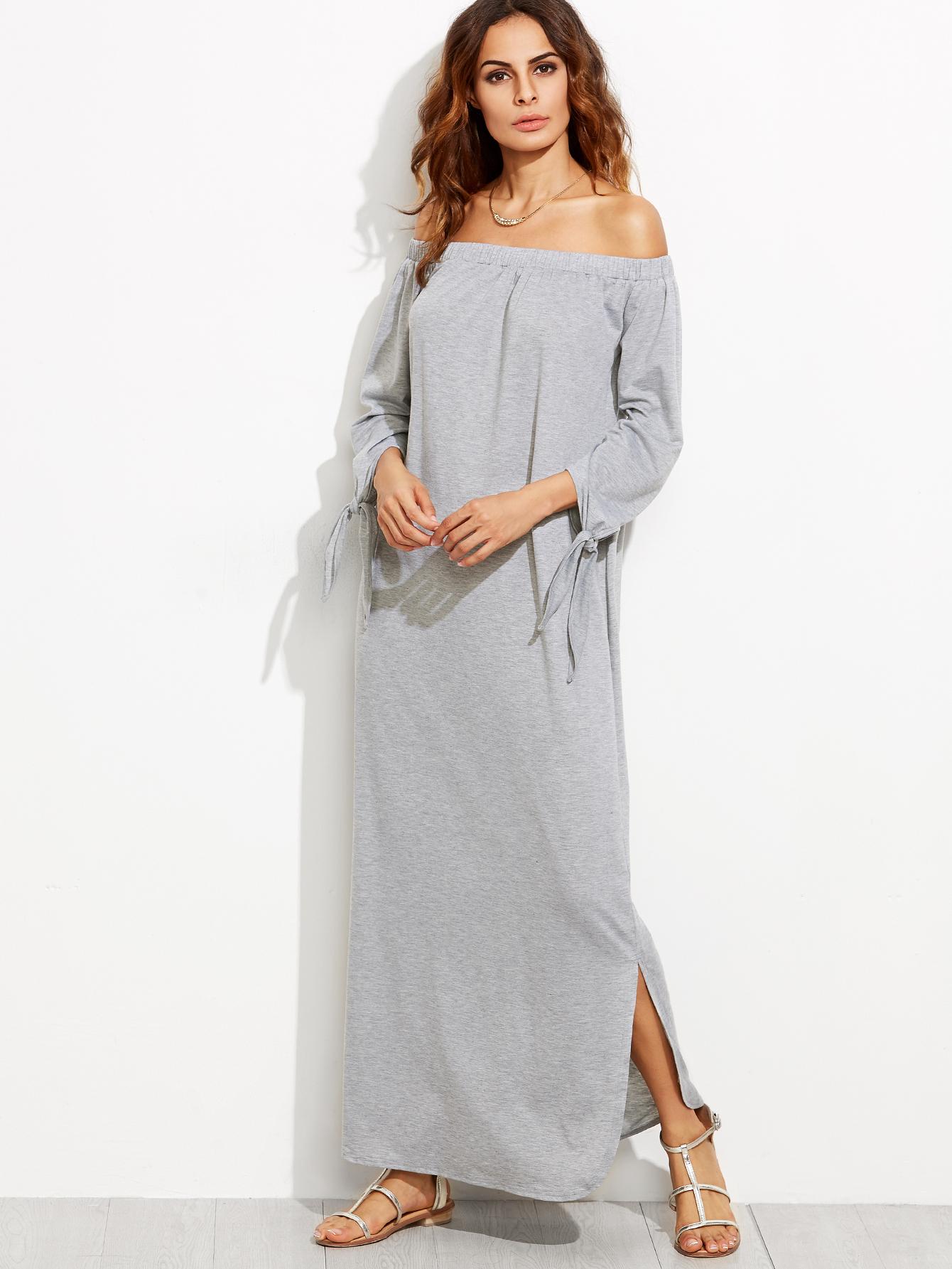 0fe73cdedfed Heather Grey Off The Shoulder Tie Sleeve Slit Maxi Dress — 0.00 € color   Grey
