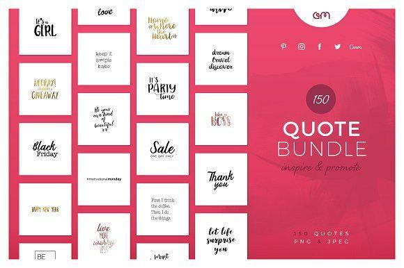 150 Quotes Bundle by AM Studio on @creativemarket 150 unique quotes