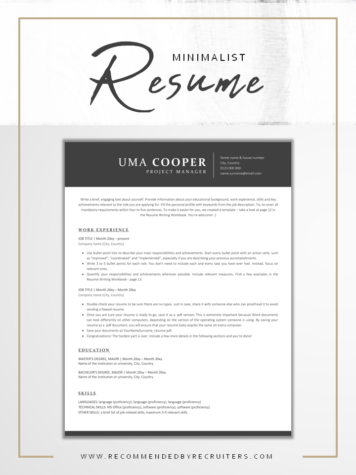 Ats Resume Template And Cover Letter Instant Download Etsy Resume Design Inspiration Resume Template Resume