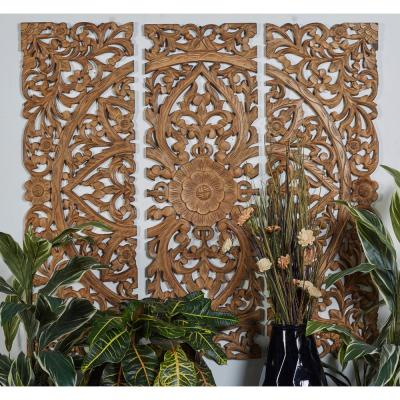 48 In X 16 In Carved Botanical Scrollwork Framed Wooden Wall Art Set Of 3 Carved Wood Wall Art Wooden Wall Panels Wooden Wall Art